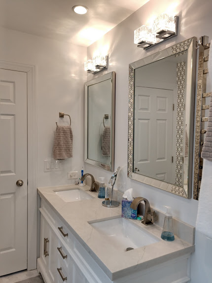bathroom vanity, mirrors and lights
