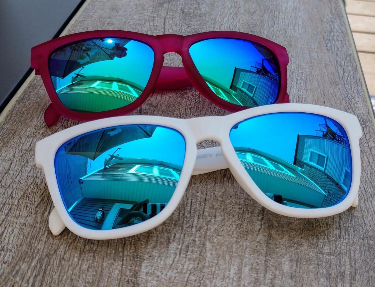 Goodr running sunglasses white and purple